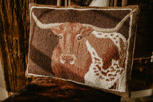 "Load image into Gallery viewer, ""Longhorn' Rug Hooked Large Accent Pillow"