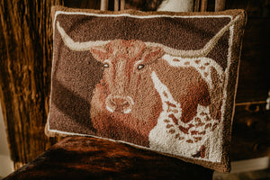 """Longhorn' Rug Hooked Large Accent Pillow"