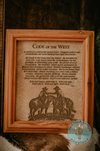 "Load image into Gallery viewer, ""Code of the West"" Cowhide Poem with Custom Cedar Frame (10X12)"