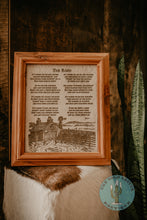 "Load image into Gallery viewer, ""The Barn"" Cowhide Poem with Custom Cedar Frame (10X12)"