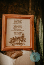 "Load image into Gallery viewer, ""One More Day"" Cowhide Poem with Custom Cedar Frame (10X12)"