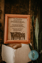 "Load image into Gallery viewer, ""The Tradition"" Cowhide Poem with Custom Cedar Frame (10X12)"