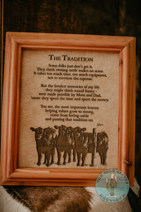 """The Tradition"" Cowhide Poem with Custom Cedar Frame (10X12)"