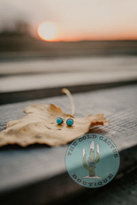 Genuine Turquoise Stud Earrings