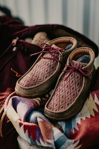 Ladies Twisted Maroon Diamond Twisted X Driving Moc