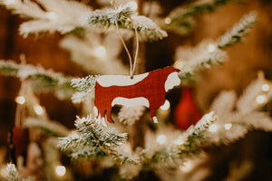 Hereford Steer Wooden Tree Decoration