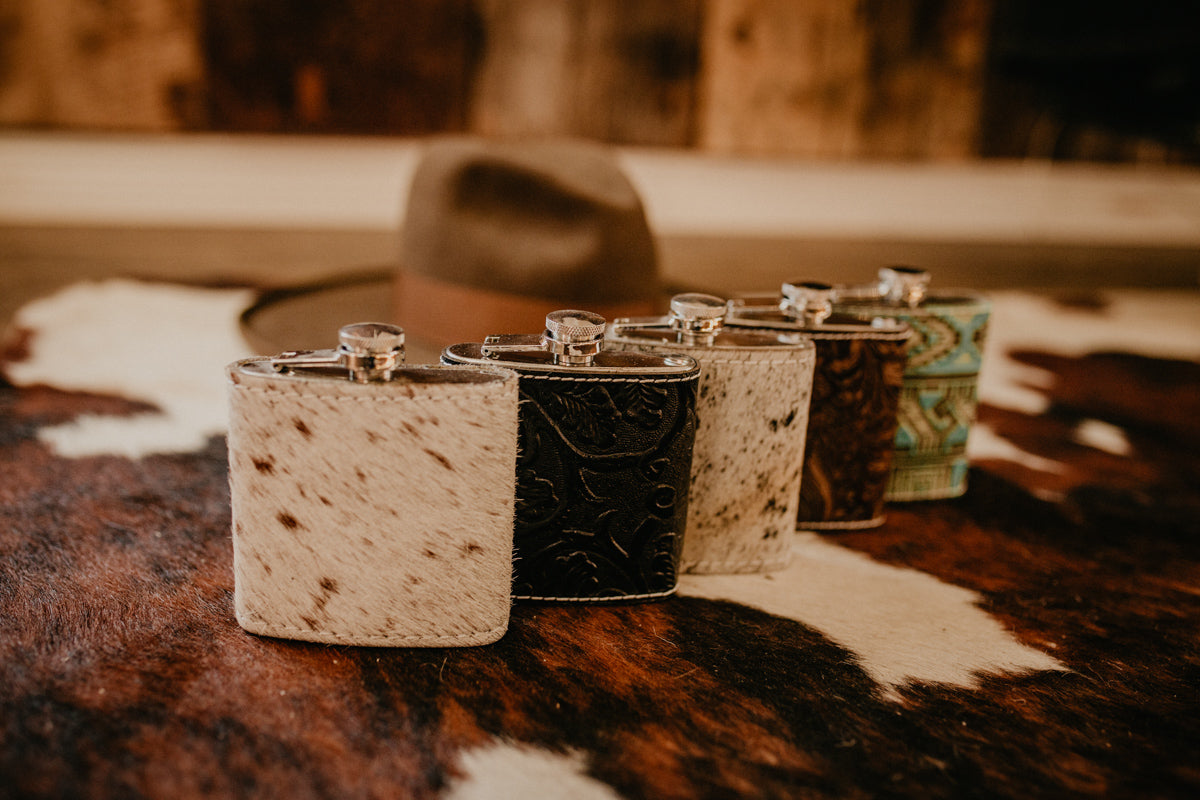'Fancy That' Cowhide Wrapped 6oz Flasks