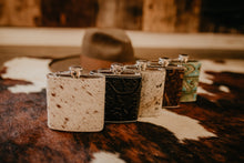 Load image into Gallery viewer, 'Fancy That' Cowhide Wrapped 6oz Flasks