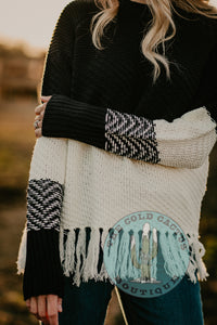 Selena Knit Fringe Colour Block Sweater