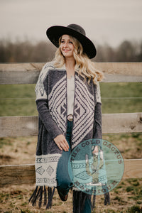 'Chantilly' Grey Aztec Fringe Cardigan