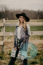 Load image into Gallery viewer, 'Chantilly' Grey Aztec Fringe Cardigan