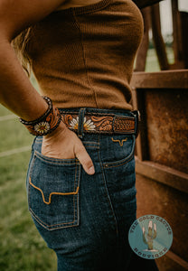 Daisy Handpainted Tooled Belt with Buckle