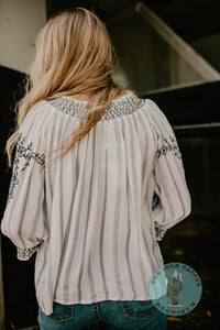 'Fayette' Top with Embroidery Detail