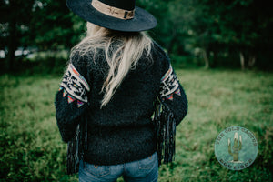 The 'Buckeye' Aztec Sweater with Fringe Detail