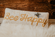 Load image into Gallery viewer, 'Bee Happy' Rug Hooked Medium Accent Pillow