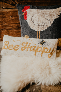 'Bee Happy' Rug Hooked Medium Accent Pillow