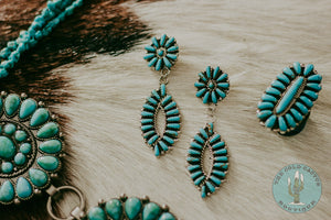 """Layne"" Genuine Turquoise Cluster Earrings"