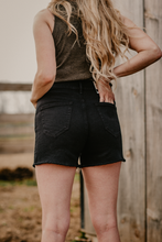 Load image into Gallery viewer, High Waist Button Fly Black Denim Shorts by Ariat