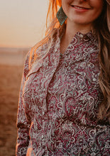 Load image into Gallery viewer, Cinch Women's Paisley Grey and Maroon Print Western Shirt (S & 2X Only)