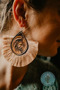 'Harper' Floral Tooled and Fringe Earrings