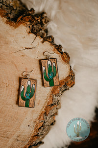 Cold Cactus Exclusive Tooled Leather Logo Earrings
