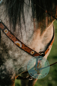 "Daisy Tooled Leather Breast Collar (1.5"" Width)"