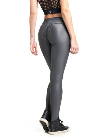 GREY LIQUID SCRUNCH LEGGINGS - SajKin