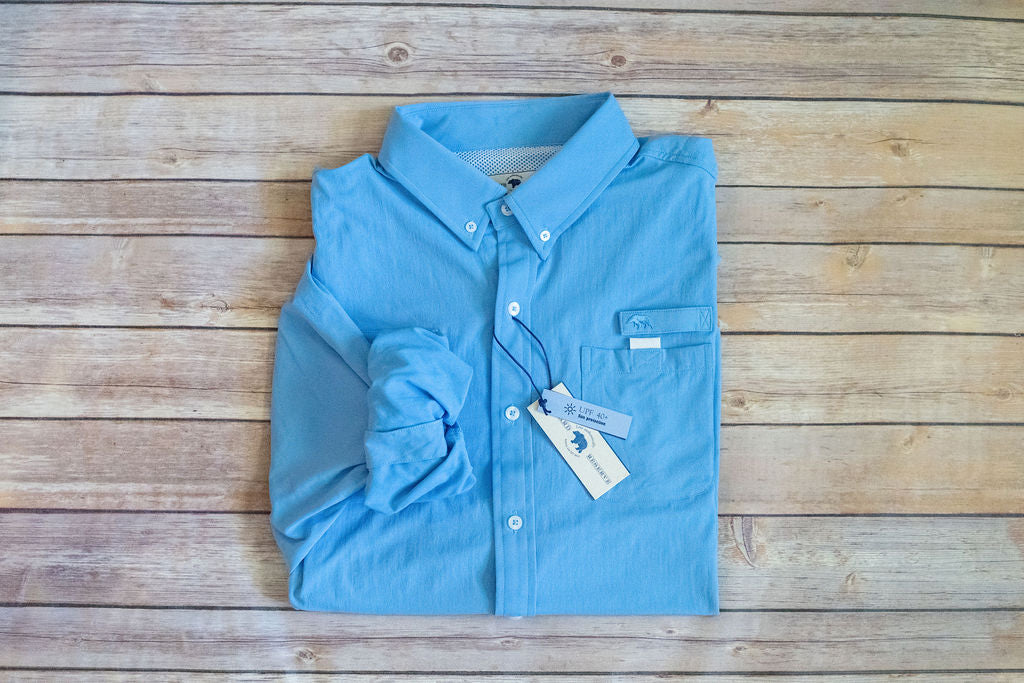 Onward Reserve Performance Fishing Shirt Solid Blue