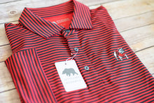 Load image into Gallery viewer, Onward Reserve UGA Pro Stripe Standing Bull Dog Polo Black & Red