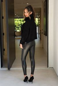 Faux Leather Lined Mid Rise Legging Pant - ChangeHouseStore