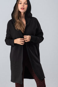 Hooded open front active wear long coat with fleece lining.