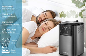 Premium Ultrasonic Humidifier for Home - Bedroom - Large Room - Babies - Cool & Warm Mist