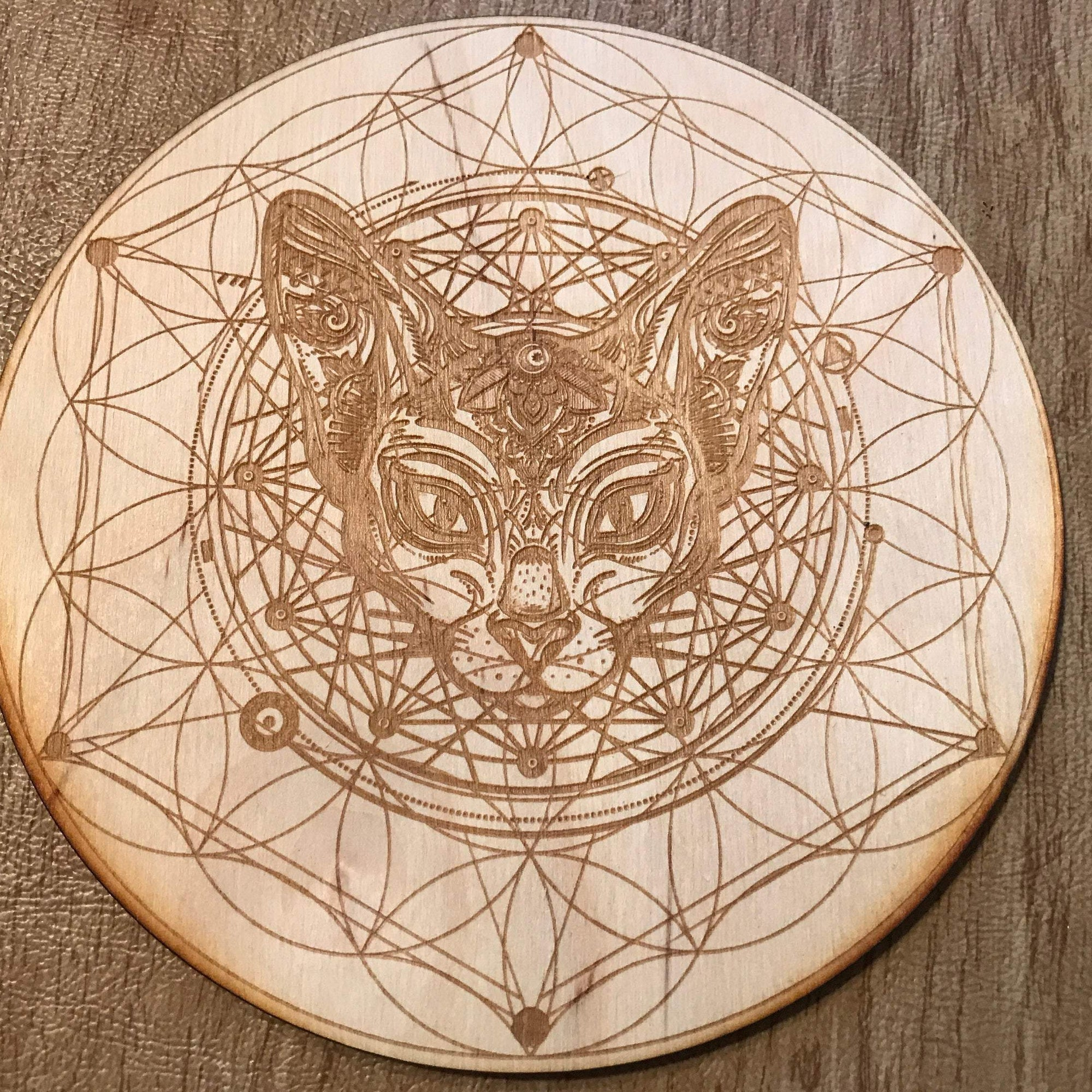 Cat Flower of Life Crystal Grid