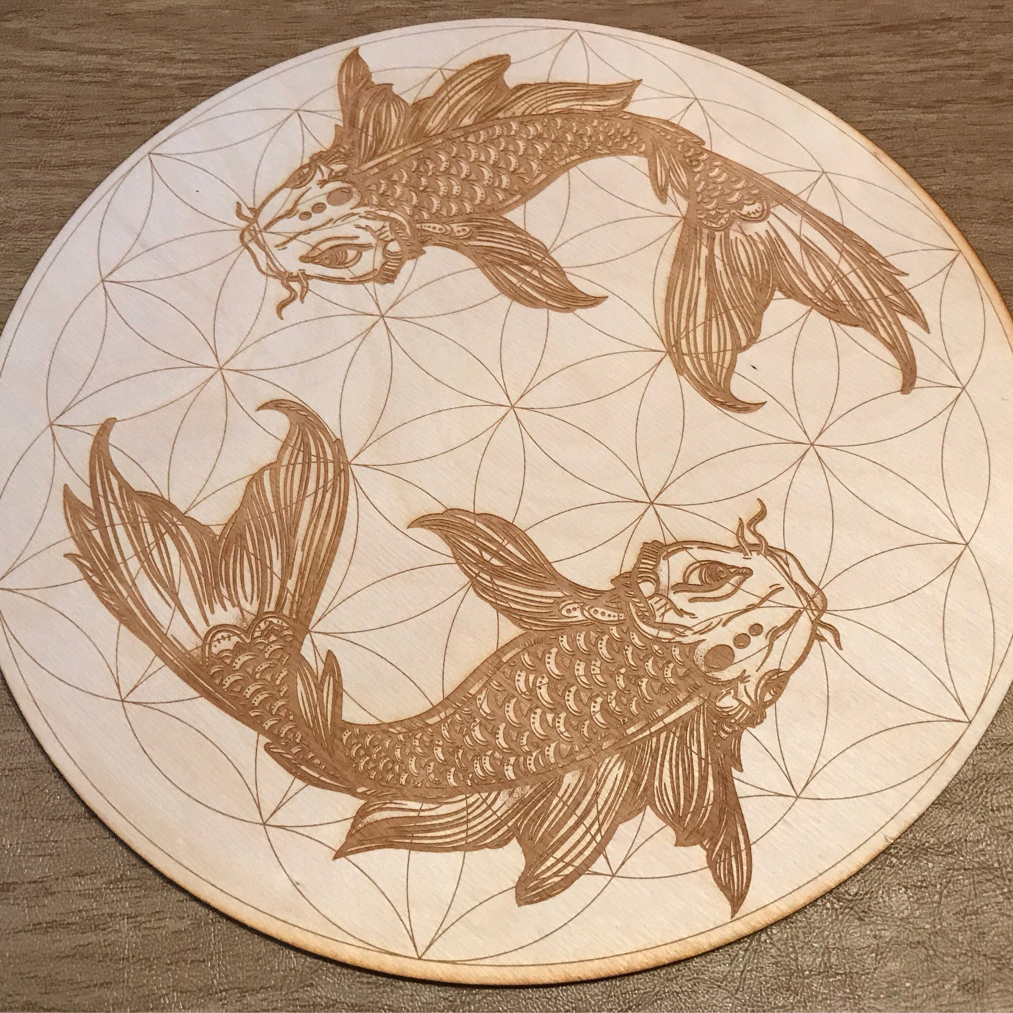 Koi Fish Flower of Life Crystal Grid