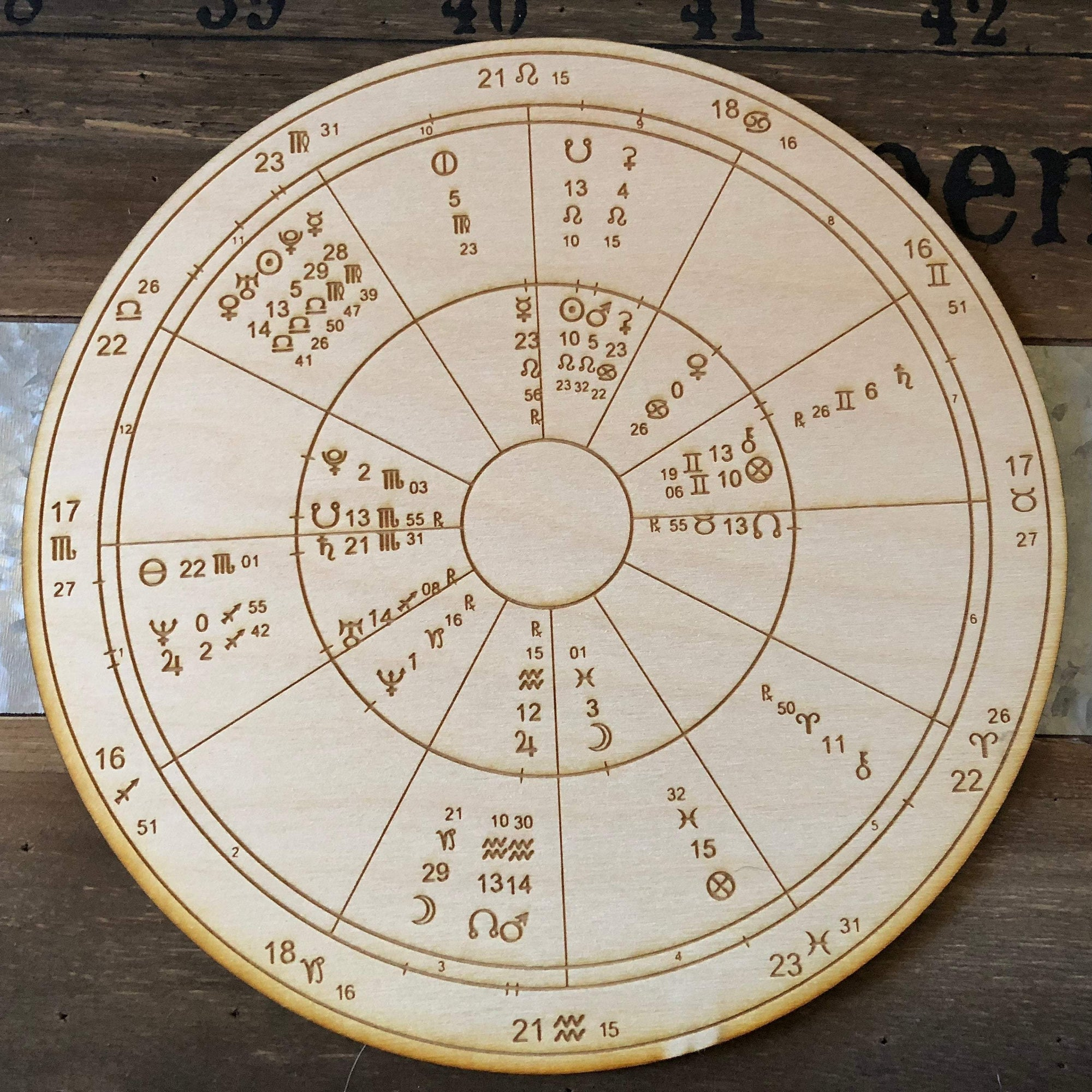 Custom Wood Engraved Astrology Romantic Compatibility Chart