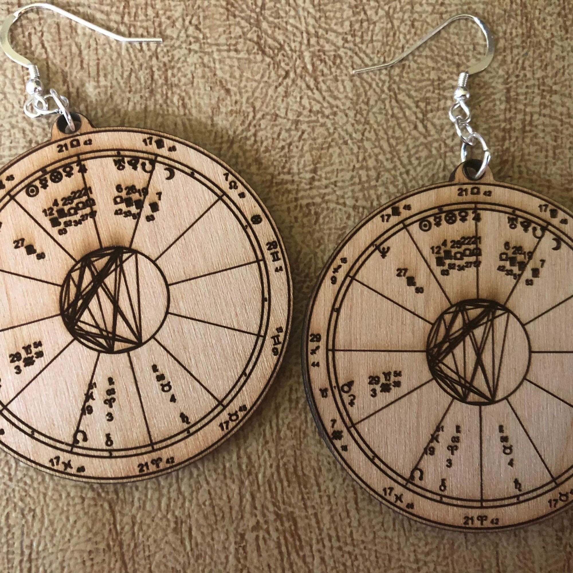 Astrology Chart Earrings Custom Wood Engraved