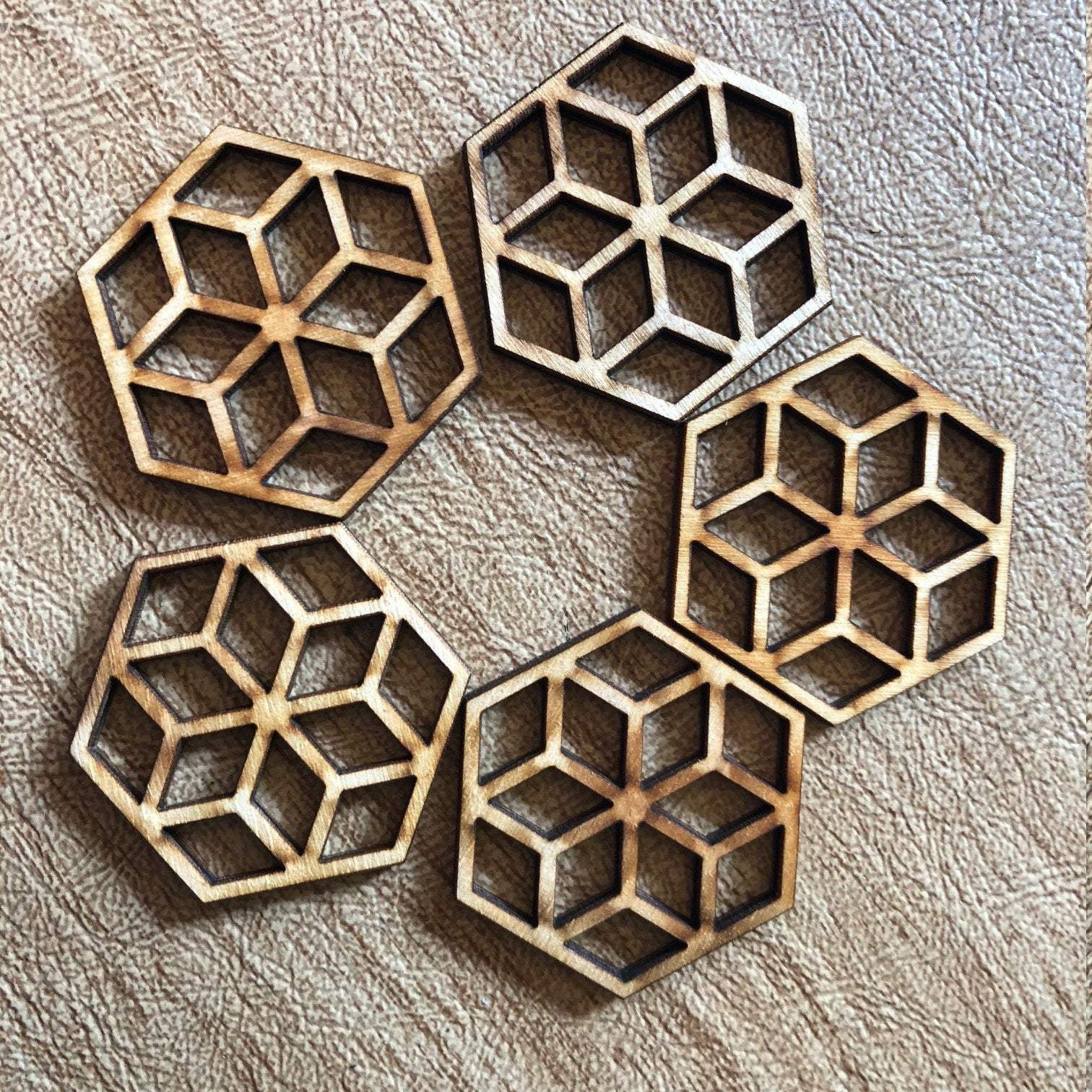 Hexagon Honeycomb Wooden Beads