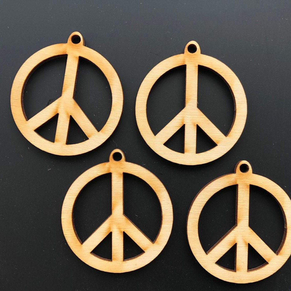 Peace Sign Wooden Beads