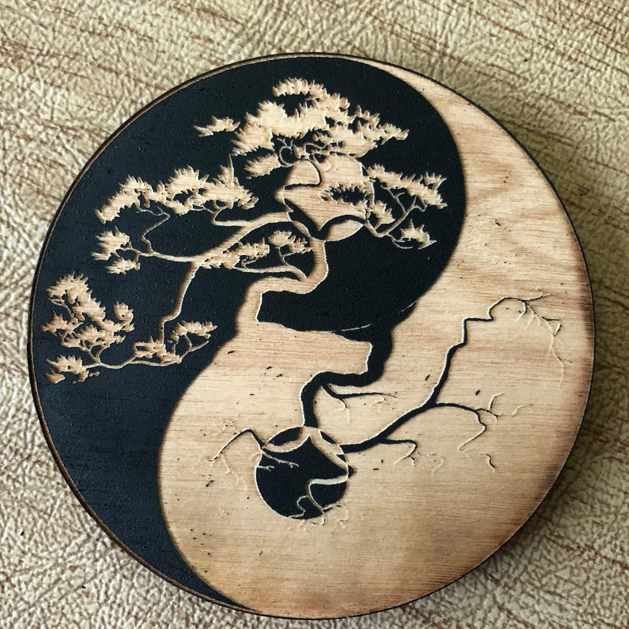 Painted Yin Yang Tree of Life Magnet