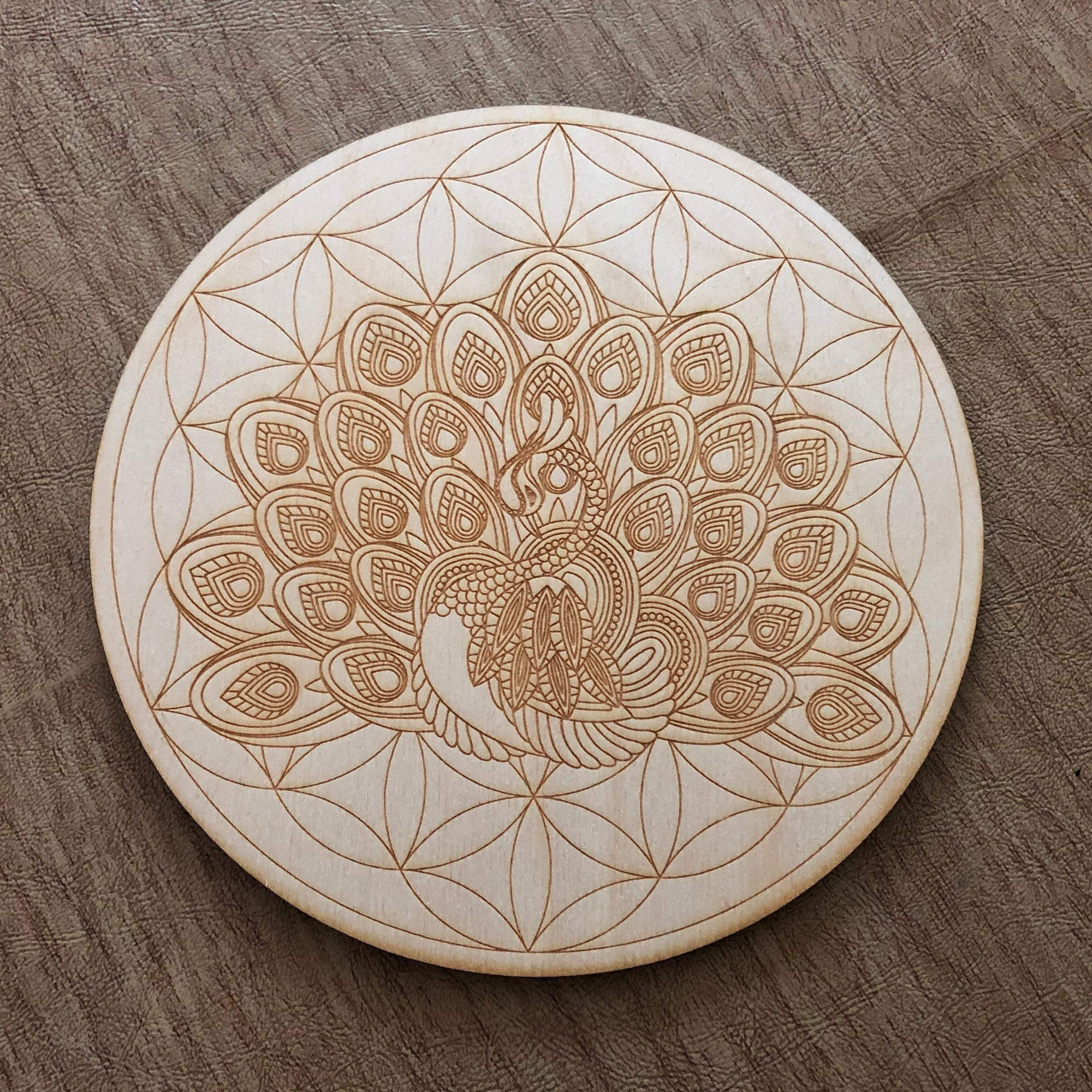 Peacock Flower of Life Crystal Grid
