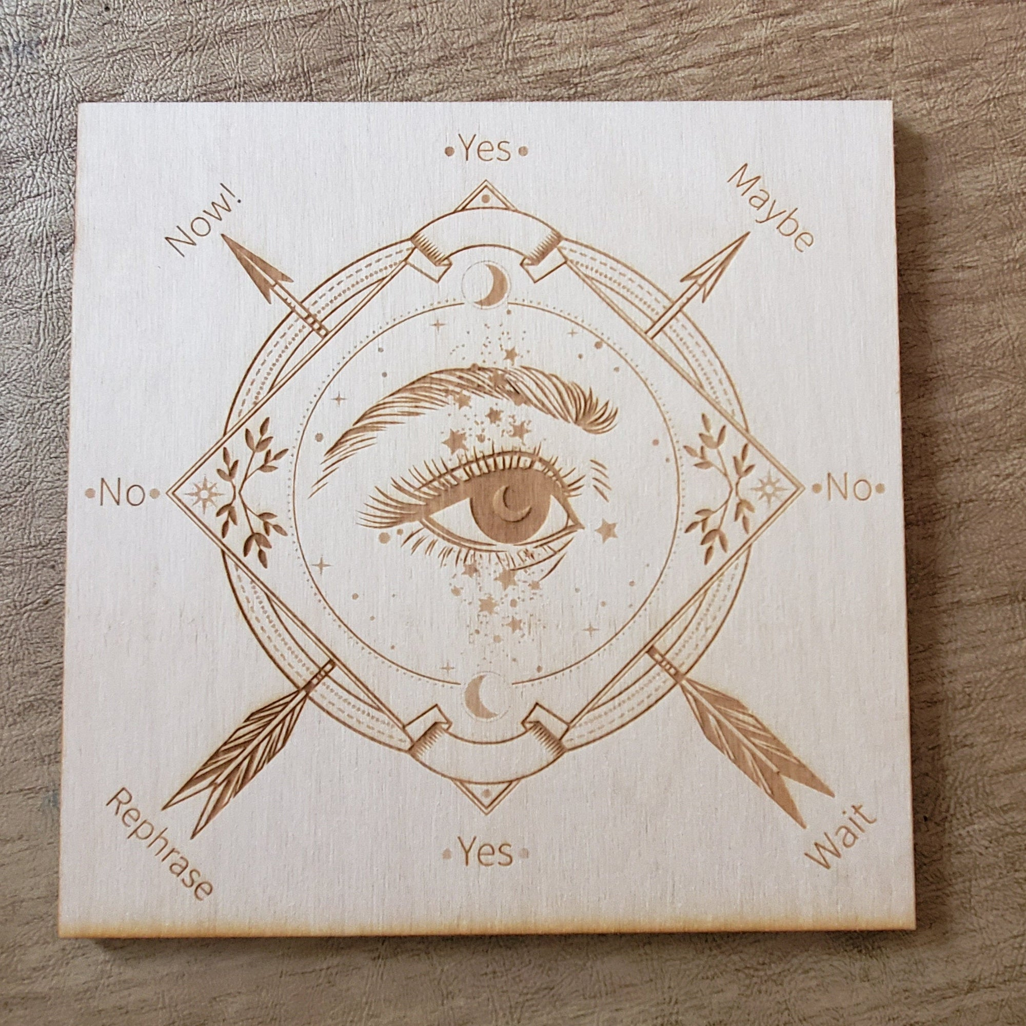 Wood Engraved Pendulum Board #3 Crystal Grid