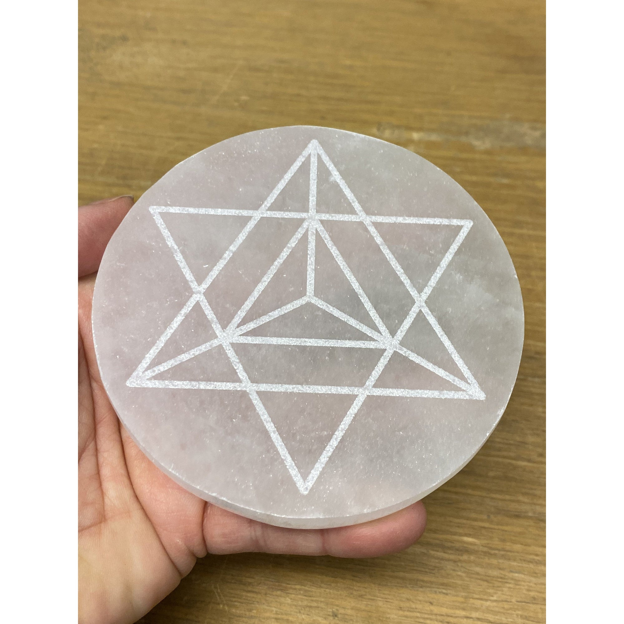 Selenite Large Engraved Merkaba Charging Platform Disk 4 inches