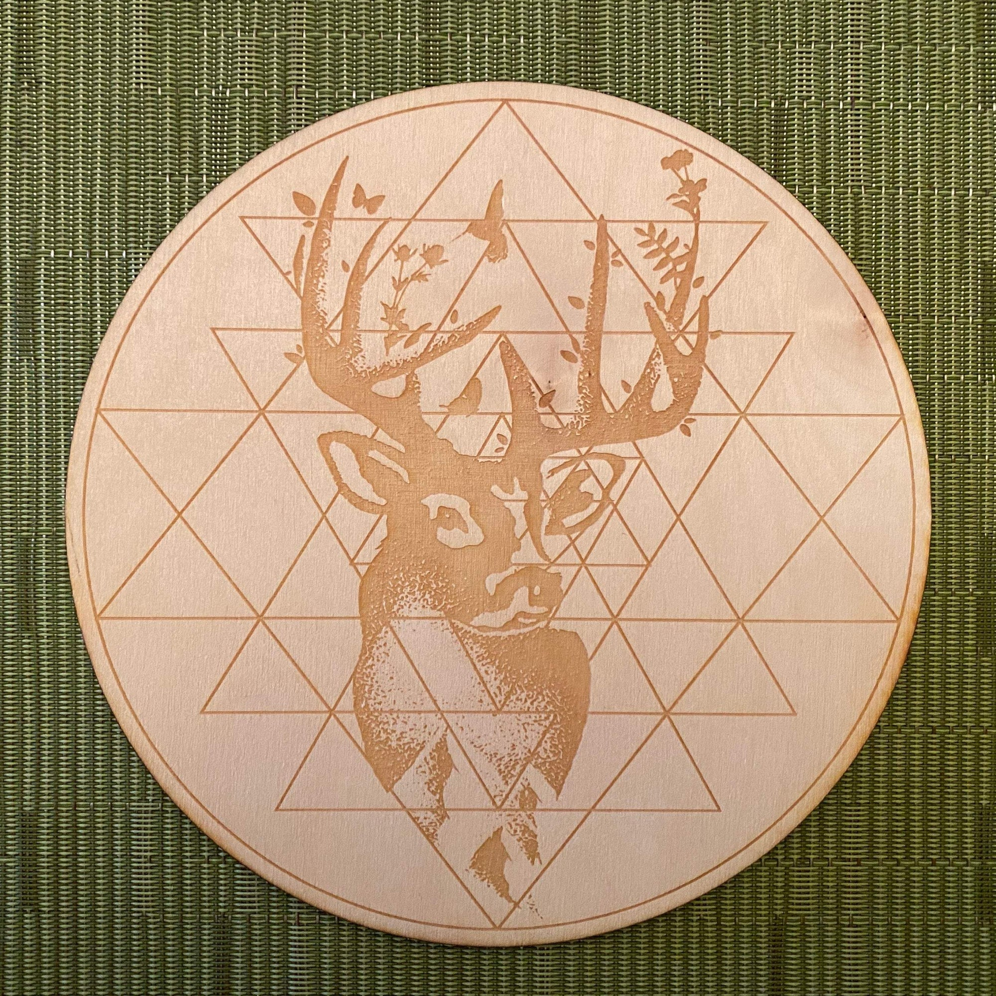 Deer Sri Yantra Crystal Grid