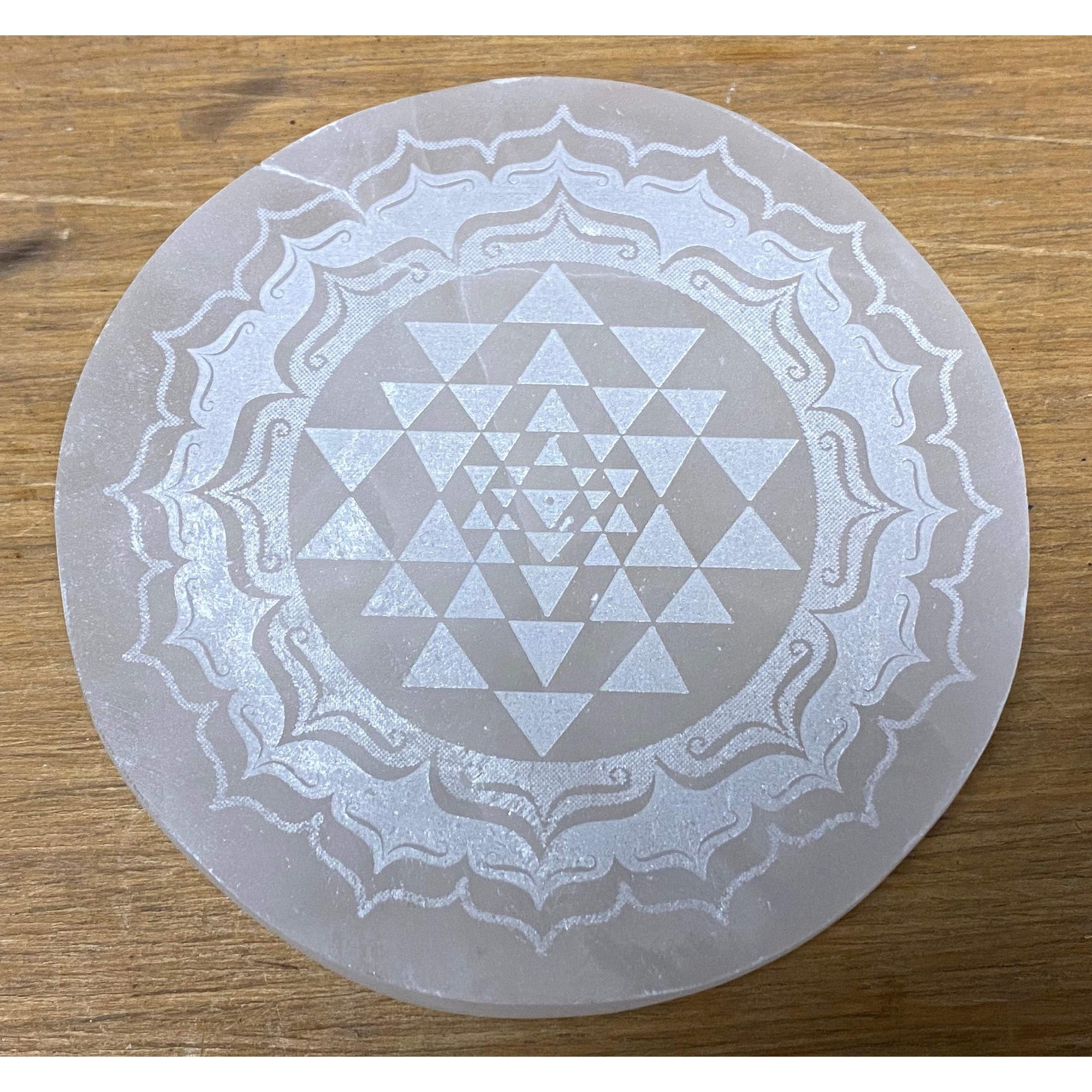 Selenite Laser Engraved Charging Platform Disk