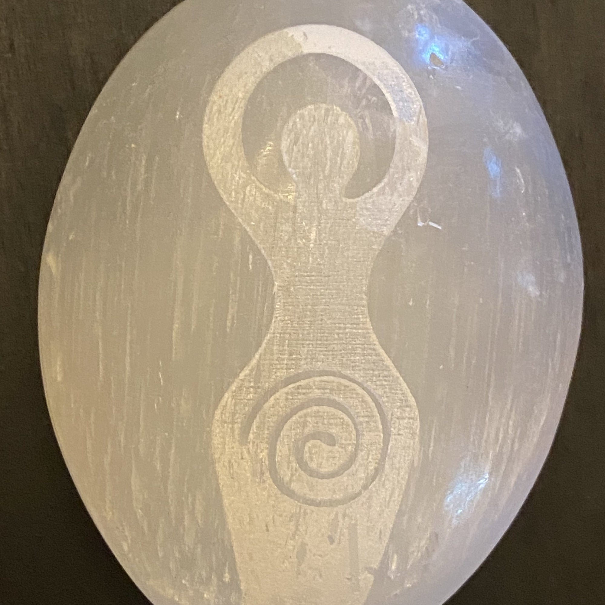 Selenite Palmstone Laser Engraved Goddess