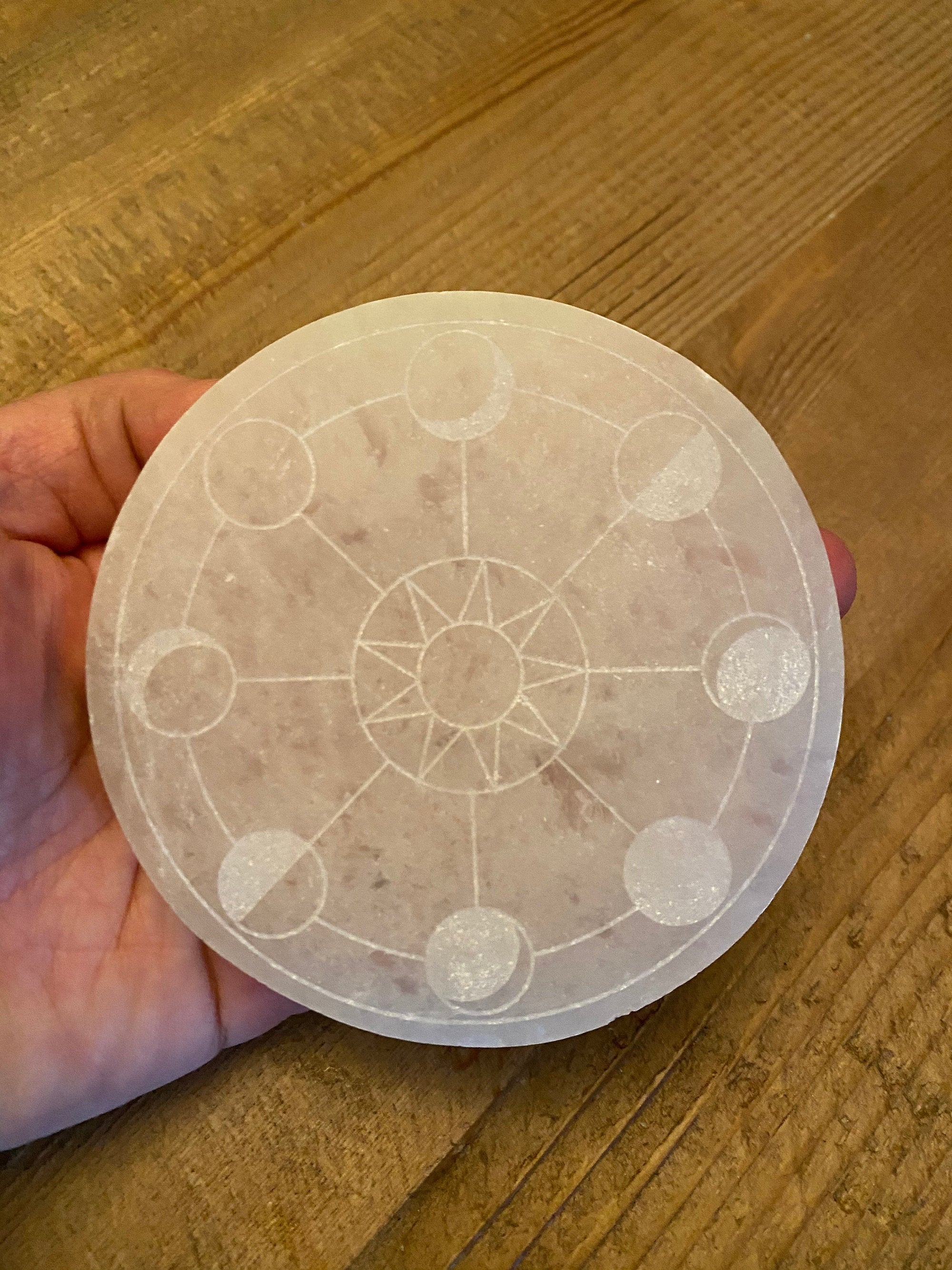 Moon Phase Selenite Charging Platform Disk