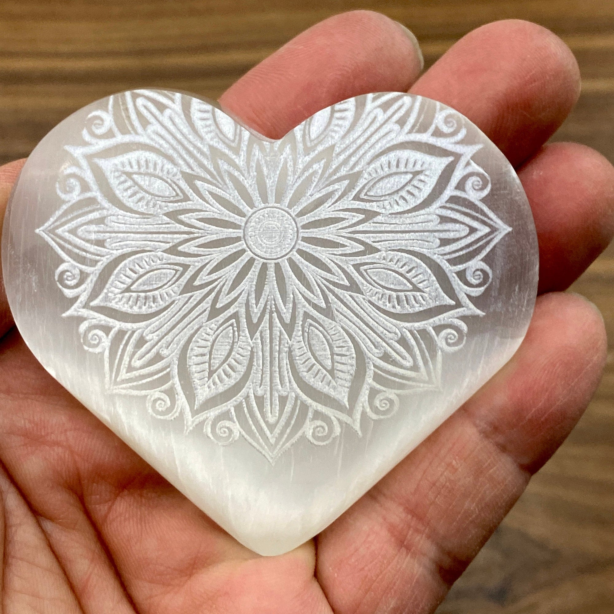 Selenite Heart Laser Engraved Mandala #1