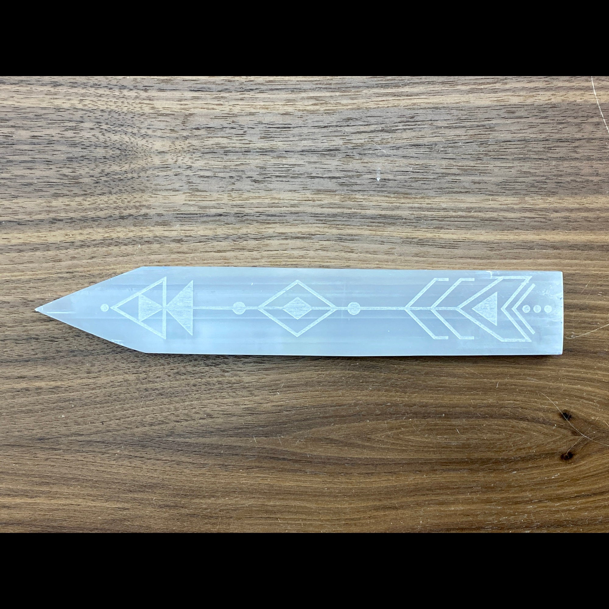 Selenite Engraved Arrows Charging Platform #2
