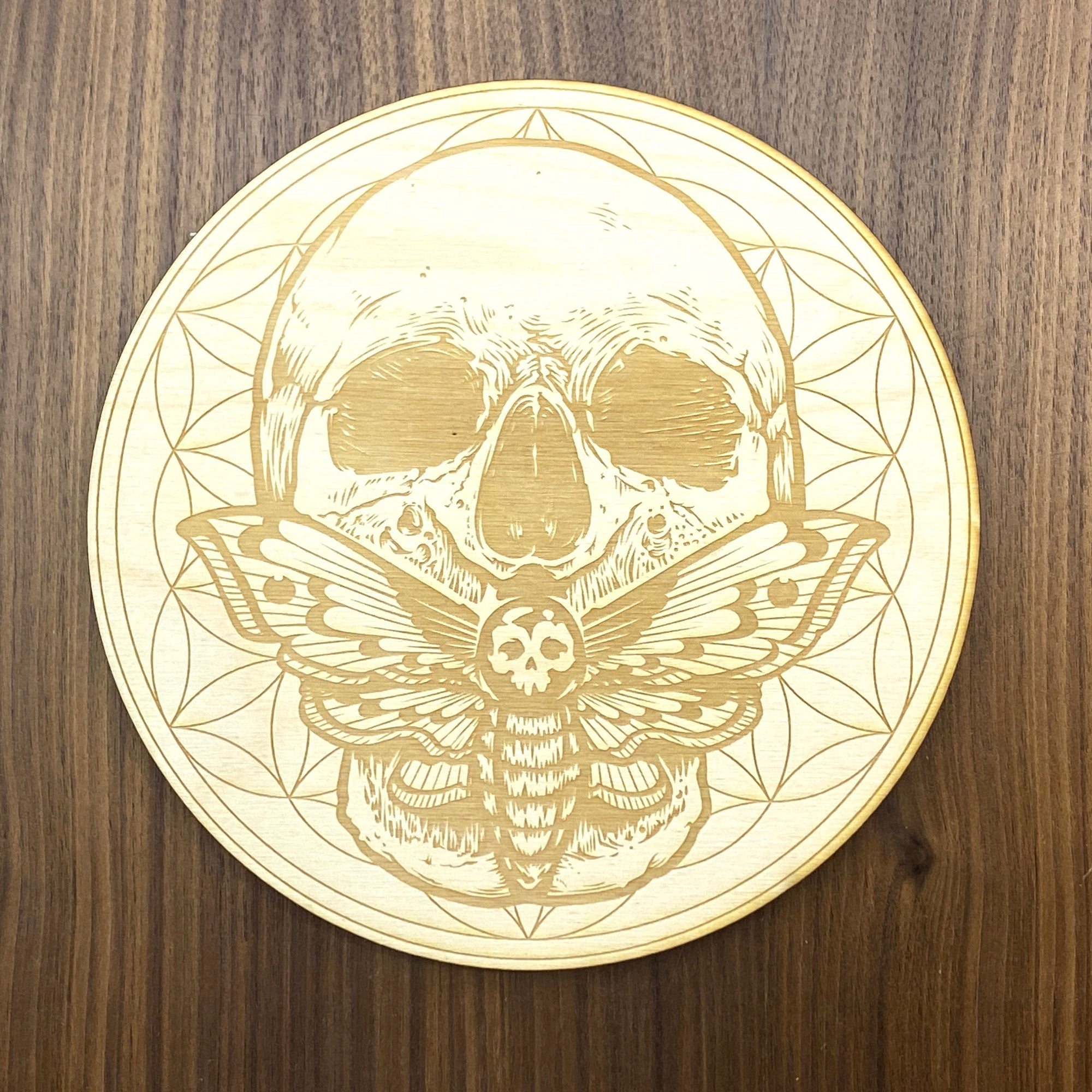 Skull Death Moth Flower of Life Crystal Grid