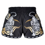 TUFF Kids Shorts Black Retro Style Double Tiger With Gold Text TUF-KRS301